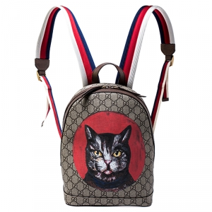 Gucci Beige GG Supreme Mystic Cat Backpack