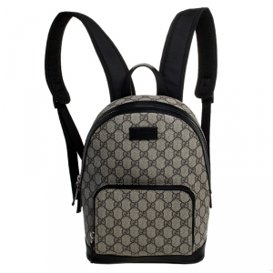 Gucci Beige/Black GG Supreme Canvas and Leather Small Eden Backpack
