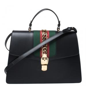 حقيبة غوتشي يد علوية ماكسي سيلفي سلسلة ويب سوداء