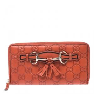 محفظة غوتشي Emily  سحاب ملتف جلد غوتشيسيما برتقالية