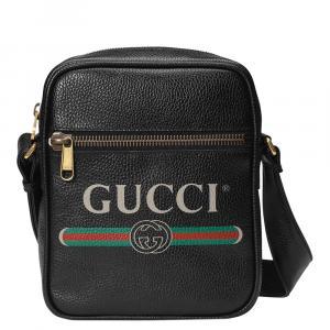 Gucci Black Leather  Logo Shoulder Bag