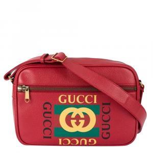 Gucci Red Logo Leather Crossbody Bag