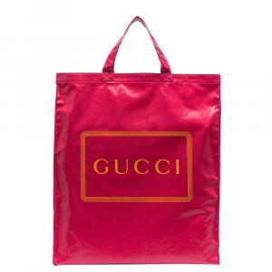 Gucci Pink Logo Print Cotton Medium Tote Bag