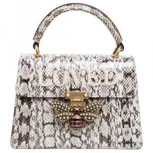 Gucci Black/White Python Queen Margaret Loved Top Handle Bag
