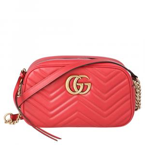 Gucci Red GG Marmont Small Matelasse Shoulder Bag