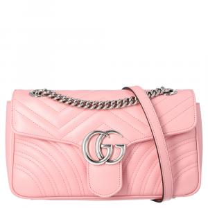 Gucci Light Pink GG Marmont Matelasse Small Shoulder Bag