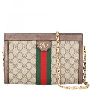 Gucci Beige/Brown GG Canvas Ophidia Small Shoulder Bag