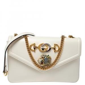 Gucci White Leather Medium Rajah Flap Shoulder Bag