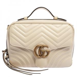 Gucci Cream Matelasse Leather Small Camera GG Marmont  Bag