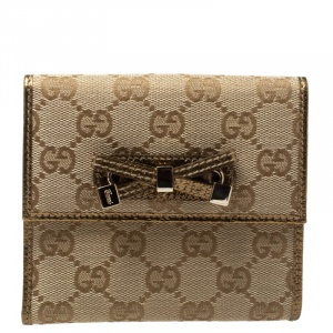 Gucci Beige/Gold GG Canvas and Leather Princy Compact Wallet