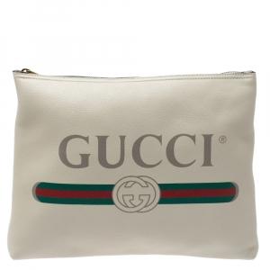 Gucci White Leather Logo Porforlio Pouch
