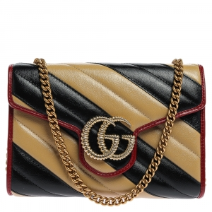 Gucci Black/Beige Diagonal Quilt Leather GG Marmont Torchon Wallet on Chain