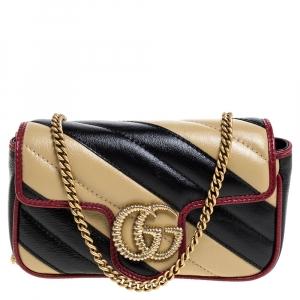 Gucci Black/Beige Diagonal Quilt Leather Mini GG Marmont Torchon Shoulder Bag