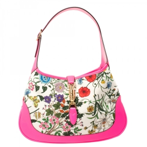 Gucci Neon Pink Floral Print Canvas and Leather Jackie Hobo