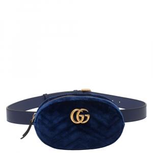 Gucci Blue Matelasse Velvet GG Marmont Belt Bag