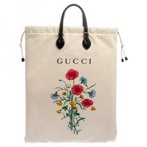 Gucci Cream White Canvas Chateau Marmont Drawstring Laundry Tote