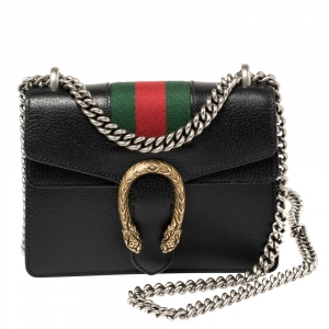 Gucci Black Leather Mini Web Dionysus Shoulder Bag
