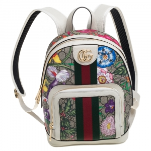 Gucci Multicolor GG Supreme Canvas and Leather Small Ophidia Flora Backpack