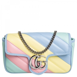Gucci Multicolor Matelasse Leather Super Mini GG Marmont Crossbody Bag