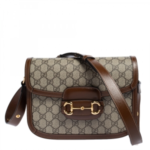 Gucci Beige/Brown GG Supreme Canvas and Leather 1955 Horsebit Shoulder Bag