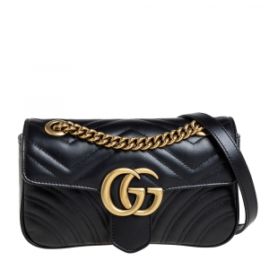 Gucci Black Leather GG Marmont Flap Crossbody Bag