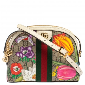 Gucci Beige/Off White Flora GG Supreme Canvas and Leather Small Ophidia Crossbody Bag