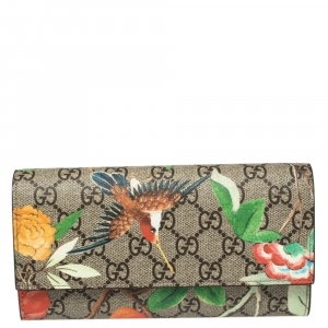Gucci Beige Bird Print Supreme Canvas Continental Wallet