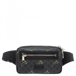 Gucci Grey/Black GG Canvas Tiger Belt Bag
