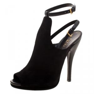 Gucci Black Suede Jane Peep Toe Ankle Strap Booties Size 38