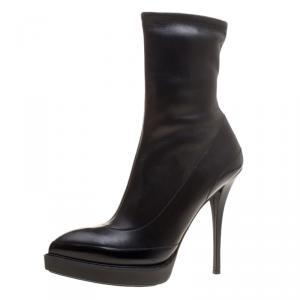 Gucci Black Leather Wimbledon Platform Ankle Boots Size 40.5
