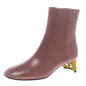 Gucci Blush Pink Leather Betis Glamour Crystal Heel Boots Size 39