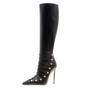 Gucci Black Leather Aneta GG Buttons Knee High Pointed Toe Boots Size 35.5