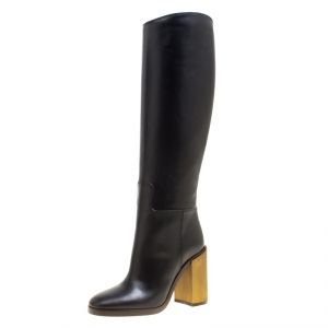 Gucci Black Leather Knee High Block Heel Boots Size 36.5