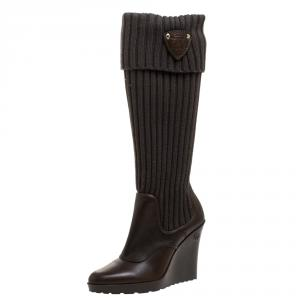 Gucci Green Knit Fabric And Leather Wedge Knee Length Boots Size 38.5