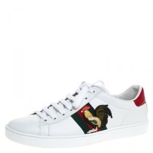 حذاء رياضي غوتشي Ace تفاصيل ويب Rooster حافة جلد ثعبان ميتالك وجلد أبيض مقاس 37.5