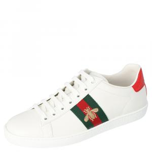 Gucci White Leather Embroidered Bee Ace Low-Top Sneakers Size 38.5