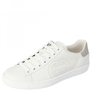 Gucci White Leather Interlocking G Ace Low-Top Sneakers Size 37.5