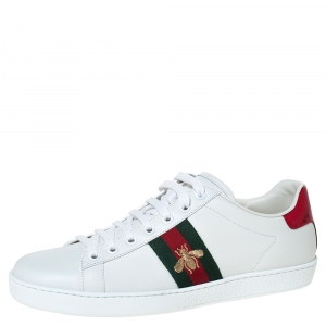 Gucci White Leather Ace Bee Web Detail Low Top Sneakers Size 39.5