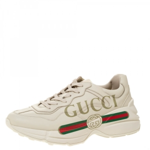 Gucci Ivory Leather Rhyton Vintage Logo Sneakers Size 39