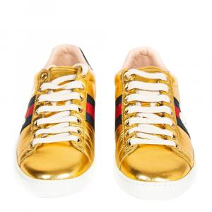 Gucci Gold Leather Ace Blind For Love Embroidered Sneaker Size 37