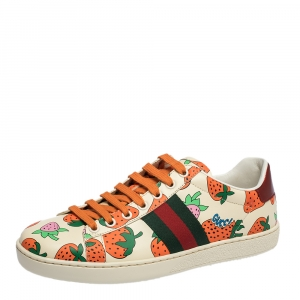 Gucci Multicolor Leather Strawberry Ace Low Top Sneakers Size 38