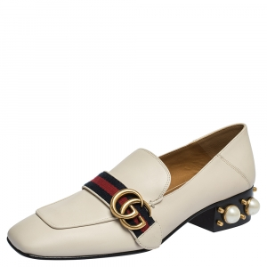 Gucci White Pearl Embellished Leather Double G Web Mid Heel Loafers Size 39