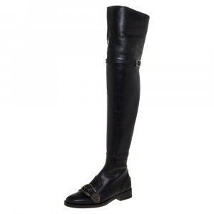 Gucci Black Brogue Leather Embroidered Bee Dionysus Knee Length Boots Size 36