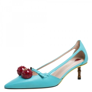 Gucci Blue Leather Unia Cherry Bamboo Heel Pointed Toe Pump Size 38.5