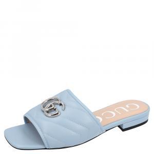 Gucci Light Blue Leather Double G Slide Sandal Size 36.5