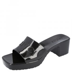 Gucci Black Rubber Slide Sandal Size 36