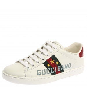 Gucci White Leather Embroidery Rainbow Patch Low Top Sneaker Size 37