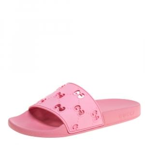 Gucci Pink GG Rubber Flat Slides Size 38