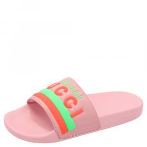 Gucci Pink Pursuit Leather Sandals Size EU 38