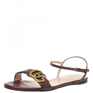Gucci Burgundy Leather Marmont Double G Flat Ankle Strap Sandals Size 35 -